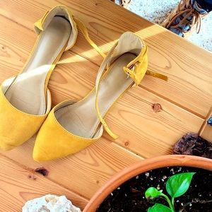 Yellow Faux Suede Ballet Flat with Ankle Strap